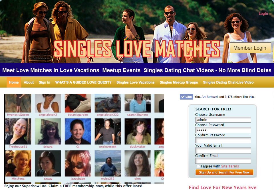 Meet Singles seeking a love match now in video chats, meetup events, singles love vacations--No more blind dates SinglesLoveMatches.com