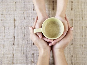 hold hands over coffee. Use the 60 second rule to build intimacy.